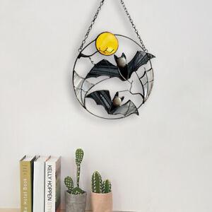 Gothic Suncatcher Bat Moon Window Wall Hanging Halloween Ornament Home Decor AU