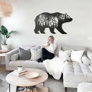 GORGEOUS MOUNTAIN BEAR METAL STEEL  PAINTED HANGING WALL ART DECORATION