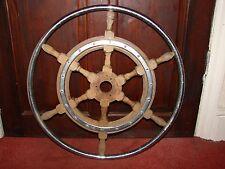 Vintage Ships Wheel Chrome & Wood