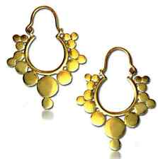 "PAIR TRIBAL 1"" 1/2 INCH SUN DOTS BRASS PLUGS EARRINGS GAUGES HOOPS HANGERS"