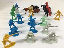 Plastic Toy Cowboy Western Rifleman Lot 23 Mini Figure Set & Animals Asst Pose
