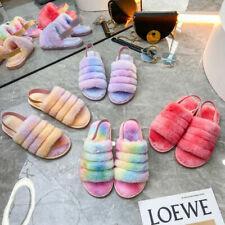 Women Fur Fluffy Sliders Slippers Ladies Slip On Flat Sandals Mules Winter Shoes