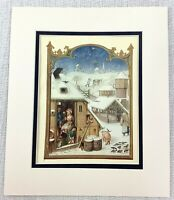 1937 Antique Print Medieval Illuminated Art Winter Landscape Snow Middle Ages