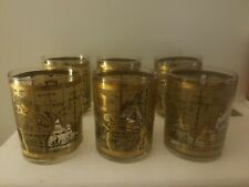 Tarta Glass Gold Vintage Atlas World Cup Drinking Collector Drinkware set of 6