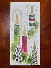 Vintage UNUSED Christmas Card GLITTER FESTIVE HOLIDAY CANDLES Mid-Century