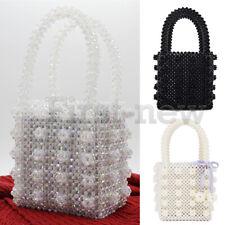 Womens Beaded Handbag Luxury Pearl Bag Handmade Weave Crystal Evening Clutch Bag