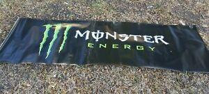 """Large MONSTER ENERGY  Banner USED 119"""" x 36"""" Moto, Motocross, Supercross, ATV"""