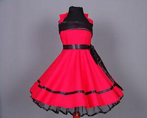 Mädchen 50-er Jahre Petticoat, Tanz,Einschulung Kleid Gr.104-128 rot/schwarz