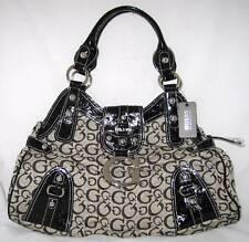GUESS Logo Ozzie Bag Purse Satchel Black Moose Beige