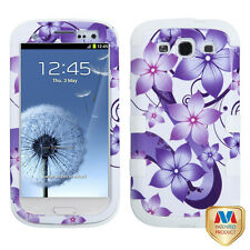 Samsung Galaxy S III 3 Rubber IMPACT TUFF HYBRID Case Cover Purple Floral