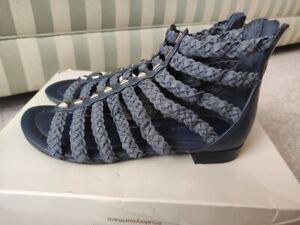 Blue Suede Marc Fisher Flat Espadrille Sandals - UK 3 US 5