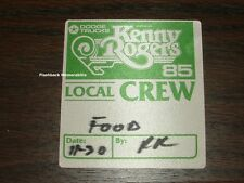 KENNY ROGERS Concert BACKSTAGE PASS 1985 Tour FASSON Satin CREW Not Ticket Stub