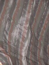 Coupon Tissu taffetas pure Soie rayé gris et rose seersucker