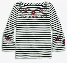 J.Crew g7322 Floral Embroidered Striped 3/4 Bell Sleeve Top Blouse Cotton sz.S