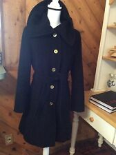 COACH Black Wool Mohair COAT Belt size S Green Signature C lining Gold Buttons