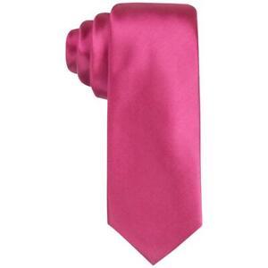 Alfani Men's Avenue Solid One Size Men's Slim Silk Magenta Neck Tie