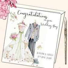 "Personalised Wedding Day Congratulations Card Bride Groom Watercolour 6"" sq"