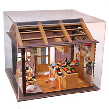 Wooden Dollhouse Miniature DIY Kits Doll house w/Cover -Japanese sushi Model