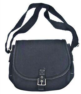 Thirty One Black Twill Stripe Crossbody Purse Shoulder Bag Cotton Linen Metro