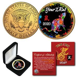 2020 Chinese New YEAR OF THE RAT 24K Gold Plated JFK Half Dollar Polychrome BOX