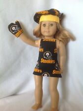 "Fit 18"" American Girl doll Steelers goldblack apron hat oven mitt clothes outfit"