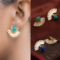 Fashion Women Gold Silver Alloy Fan Faux Gemstone Ear Stud Earrings Jewelry Gift