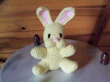 adorable crochet stuffed baby bunnyrabbit toy yellow 6in tall handmade nursery