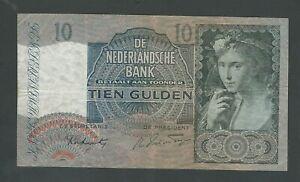 NETHERLANDS RARE 10   GULDEN 1942   P- 56  VF