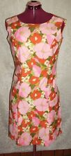 Vtg pencil wiggle floral dress, pink red green white  sleeveless , size M
