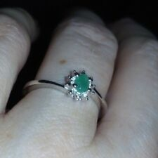 Genuine 100% Carnaiba Brazilian Emerald Ring in Sterling Silver 0.18ct L-M / 6