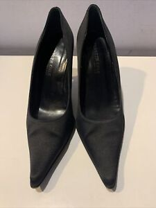 Kenneth Cole Black Satin Pointed Toe Special Occasion Pumps Heels Size 6 M