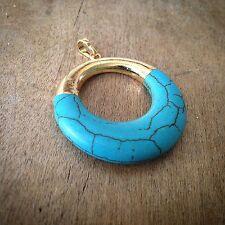 Turquoise Eternal Circle Pendant - 24K Gold Dipped Blue Howlite Gemstone Jewelry