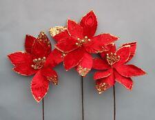 3 steli in velluto rosso di grandi dimensioni con glitter oro Poinsettia Steli Di Fiori, Natale,
