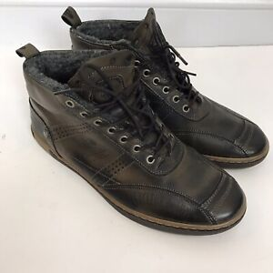 CYCLEUR DE LUXE Men's Size 44 (US 10) Brown Leather Lace Up BOOTS Wool Lined