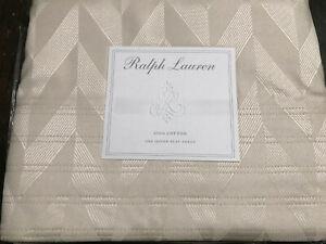 New RALPH LAUREN HOME WHITE LABEL Luxe Osbourne Art Deco Queen Flat Sheet Italy