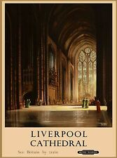Liverpool  Cathedral England Great Britain Railroad Travel Advertisement Poster