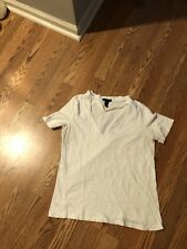 Forever 21 White Cut Out V Neck T Shirt Size L