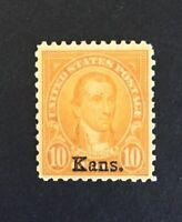 US Stamp, Scott #668, 10c 1929, VF/XF M/NH. Kans. overprint. Nice centering.