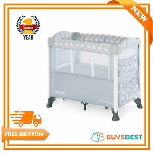 Hauck Sleep N Care Plus Travel Cot With Small Foldable Bed,Teddy Grey 60815