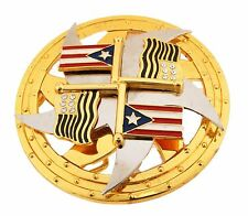 Puerto Rico United States Flag Belt Buckle Silver Metal Spinners Mens Youth New