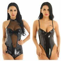 Women Leather Leotard Bodysuit WetLook V-neck Jumpsuit Catsuit Clubwear Rompers