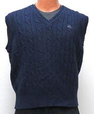 e07437661da666 vtg Izod Lacoste SPECKLED NAVY Sleeveless V-Neck M L Fit sweater 70s