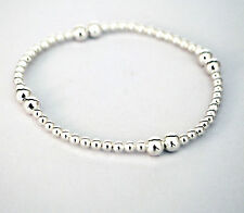"""Sterling Silver Stretch Bracelet Beaded with Silver Balls - 7"""""""