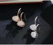 Elegant Rose Gold / Silver Plated Crystal Open Sea Shell Pearl Hook Drop Earring