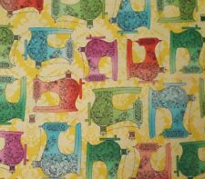 Fabric Follies BTY Leslie Moak Murray Quilting Treasures Sewing Machines Yellow