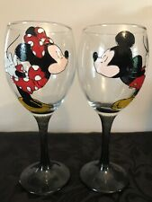Mickie And Minnie Mouse Kissing Pair Of Hand Painted Large Wine Glasses
