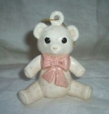 WHITE SPECKLED BEAR WITH A PINK BOW CHRISTMAS ORNAMENT