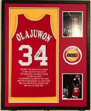 ca7f512f4 Hakeem Olajuwon Autographed Custom Framed Houston Rockets STAT Jersey JSA  COA