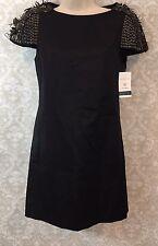 TIBI Short Sleeve Studded Feather Black Runway- Statement Dress RARE!- Size 0
