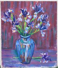 Vintage Framed Oil Painting, Jacques Koslowsk - Impressionist Still Life Irises